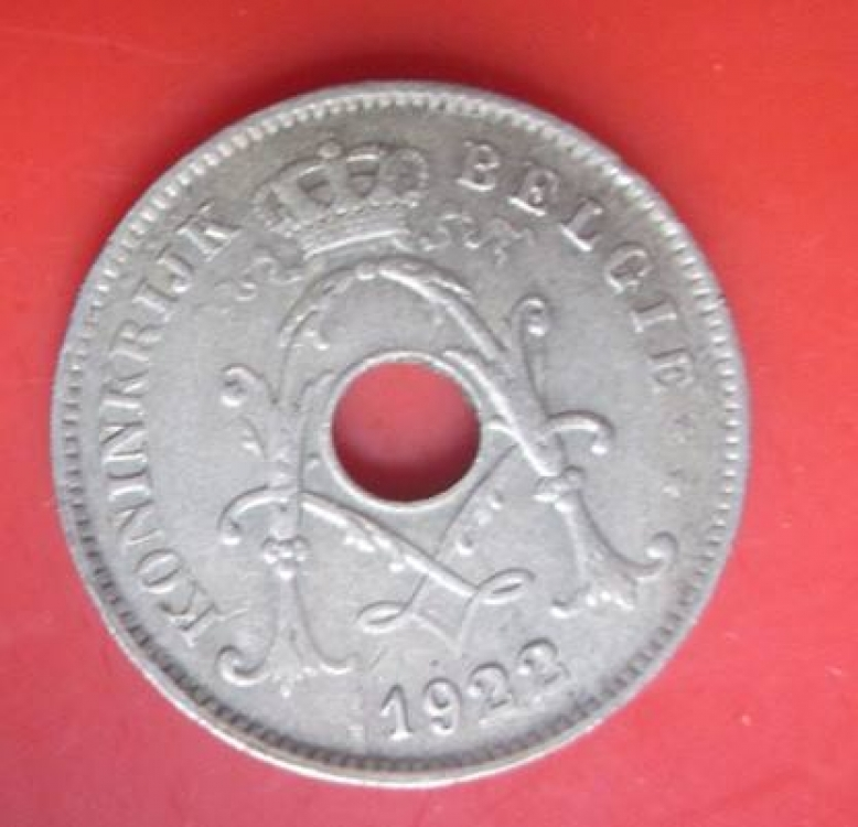 Hole Coin of 10 Centimes year '1922' Belgium