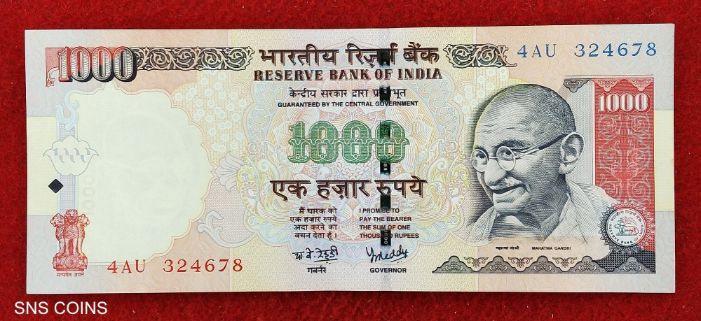 1000 Rupees Y.V Reddy Plain Note