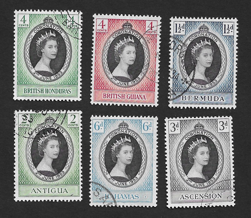 1953 Queen Elizabeth II Coronation Ð 6 stamps