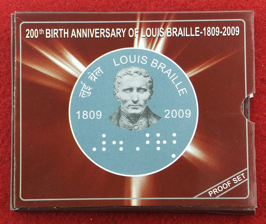 200th Birth Anniversary Of Louis Braille 1809-2009 Proof Set