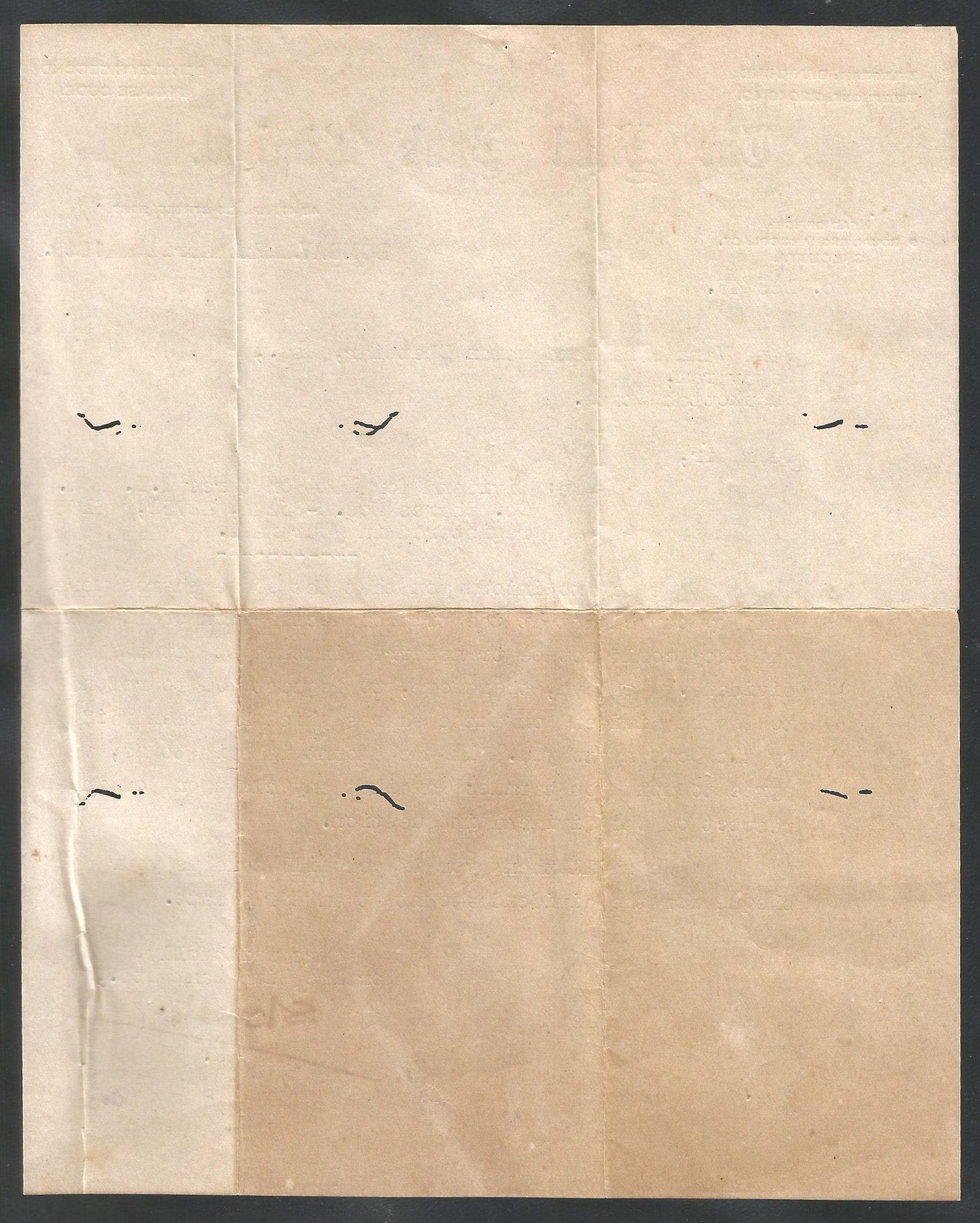 India 1945 Hind Bank Letter Head Bombay (Some holes) @030