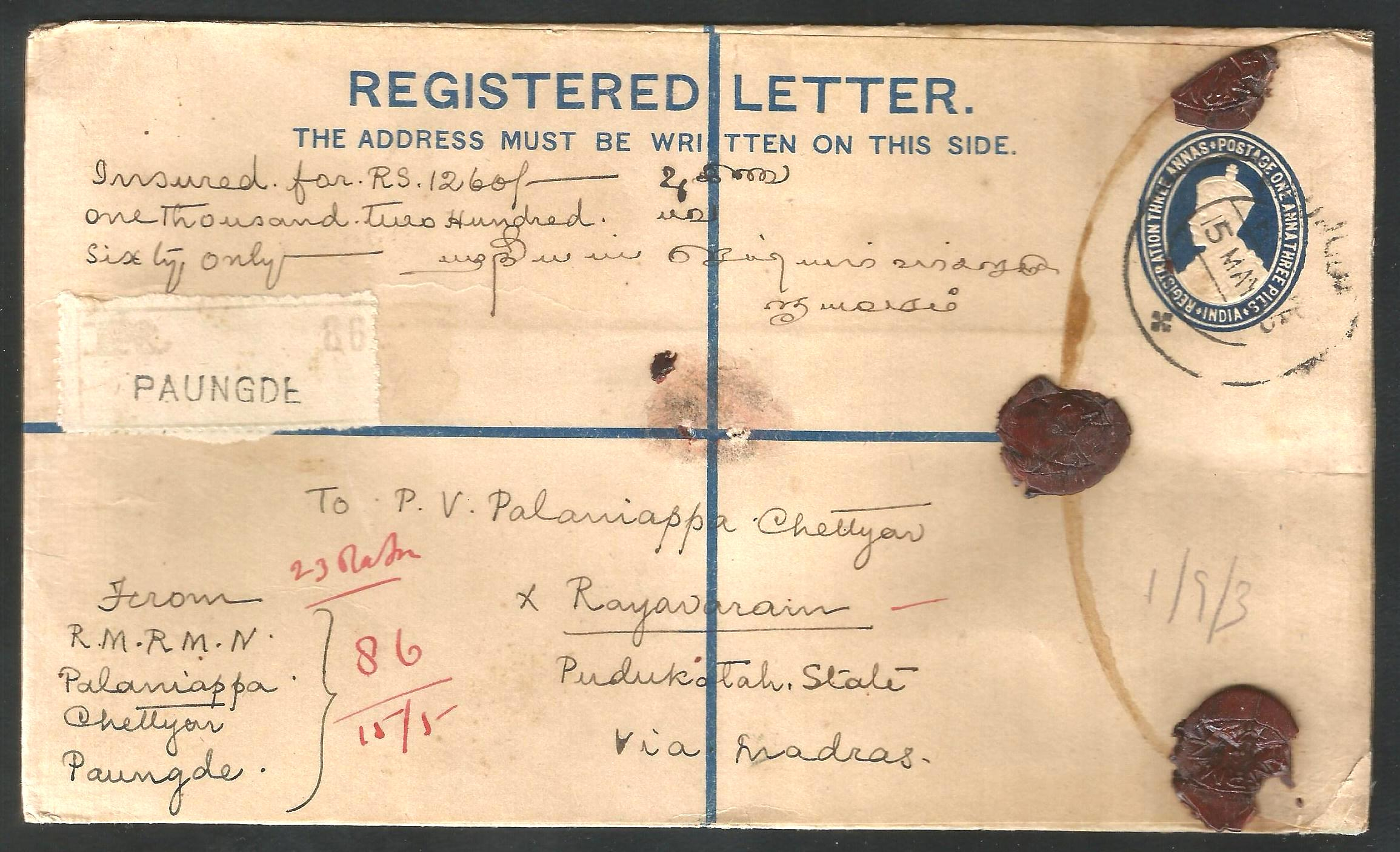 India REGISTERED LETTER Envelope used in BURMA with KGV stamps @033