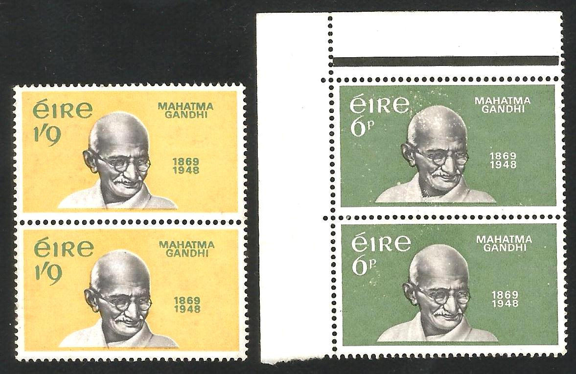 GANDHI 1969 Ireland Stamp Pair Mint with some straints at back @034