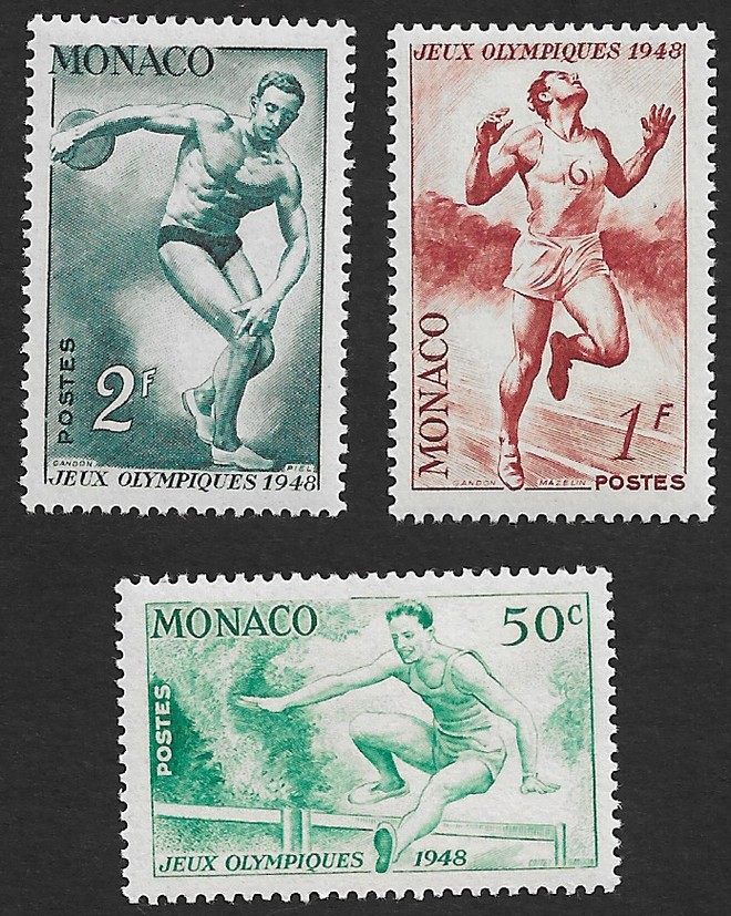 Monaco 1948 Olympics set of 3 MNH