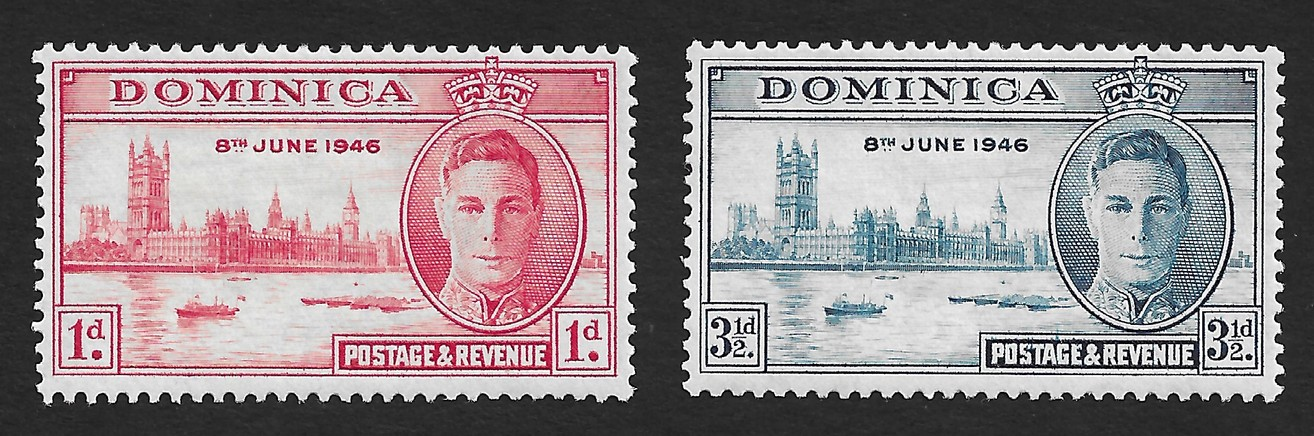 Dominica 1946 Victory set of 2 MNH