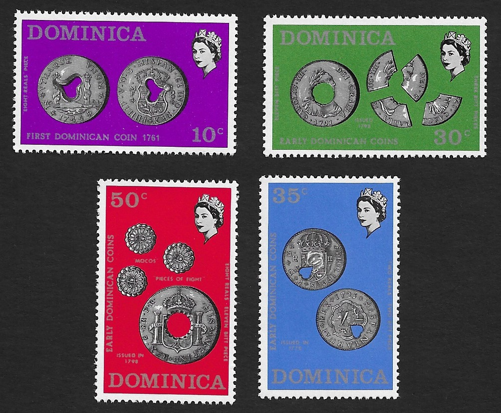 Dominica 1972 Early Dominican Coins set of 4 MNH