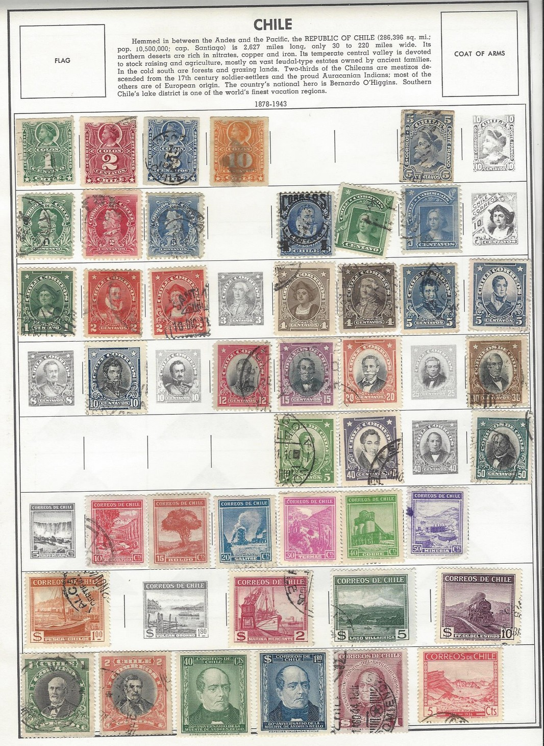 Chile 1878 - 1970 mint & used collection (119 stamps)