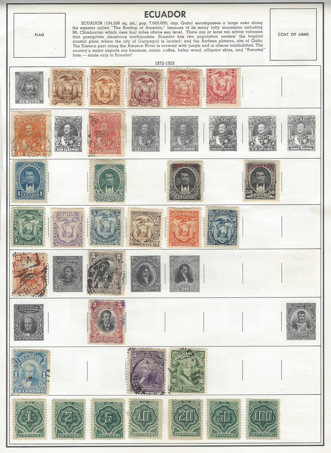 Ecuador 1872 - 1965 mint & used collection (126 stamps)