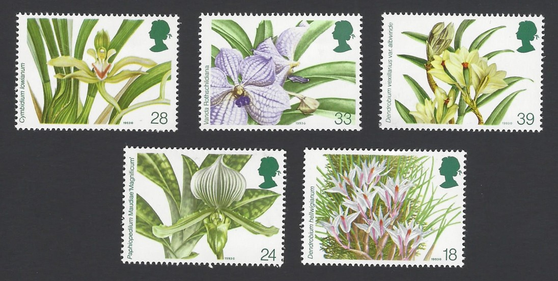 GB Great Britain 1993 Orchids set of 5 MH see back