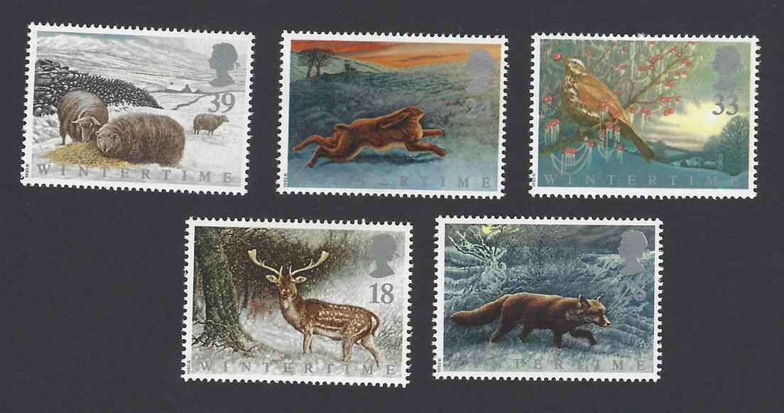 GB Great Britain 1992 Animals in Winter set of 5 MH see back