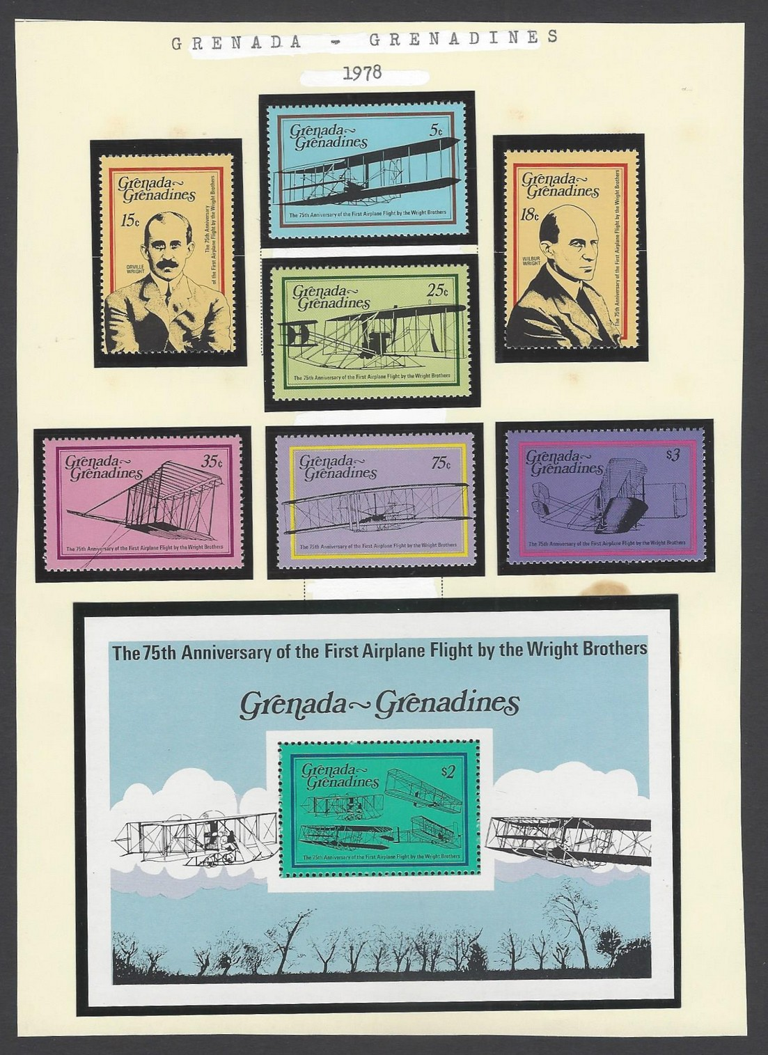Grenada Grenadines 1978 75thAnn of 1stAirplane Flight by Wright Brothers set of 7 & MS MNH