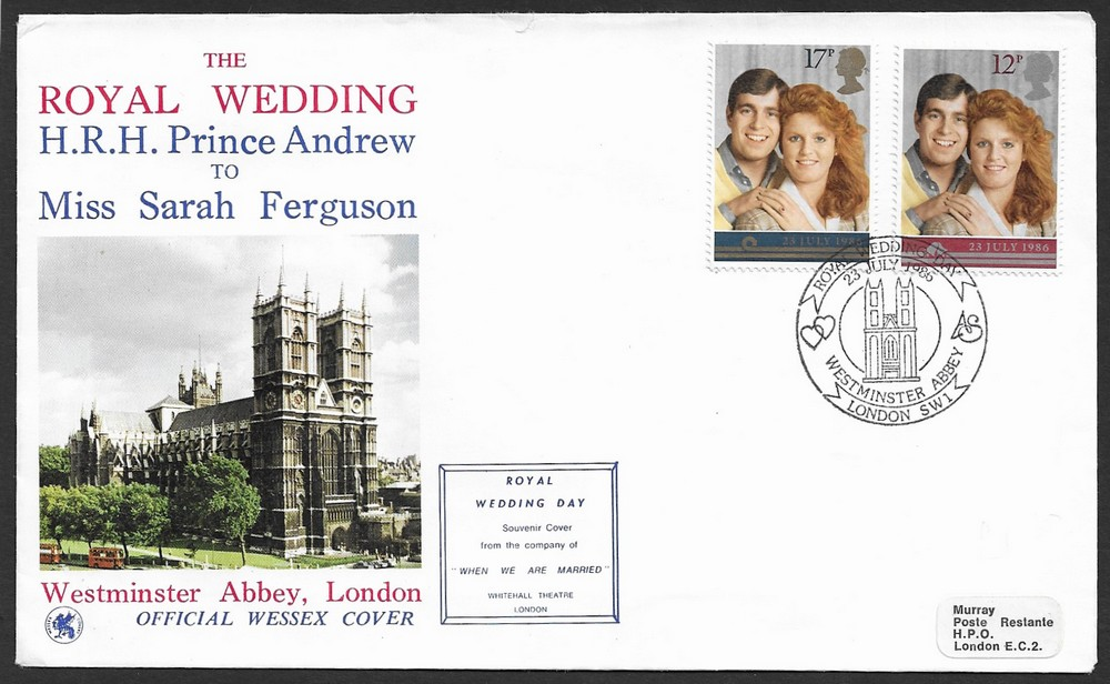 GB Great Britain 1986 Royal Wedding private FDC