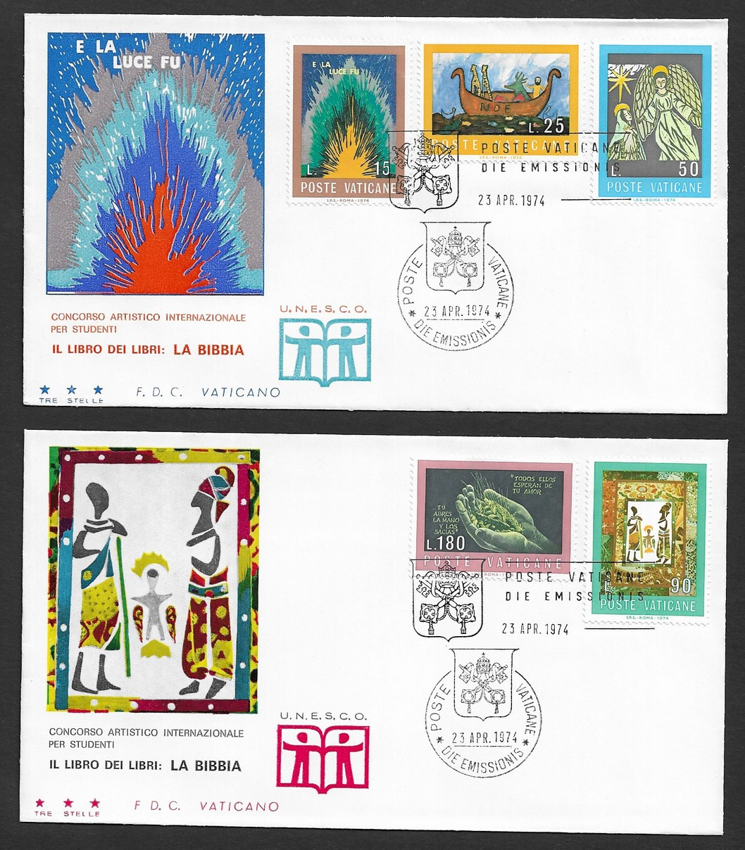 Vatican 1974 The Bible the Book of Books set of 5 on 2 FDCs