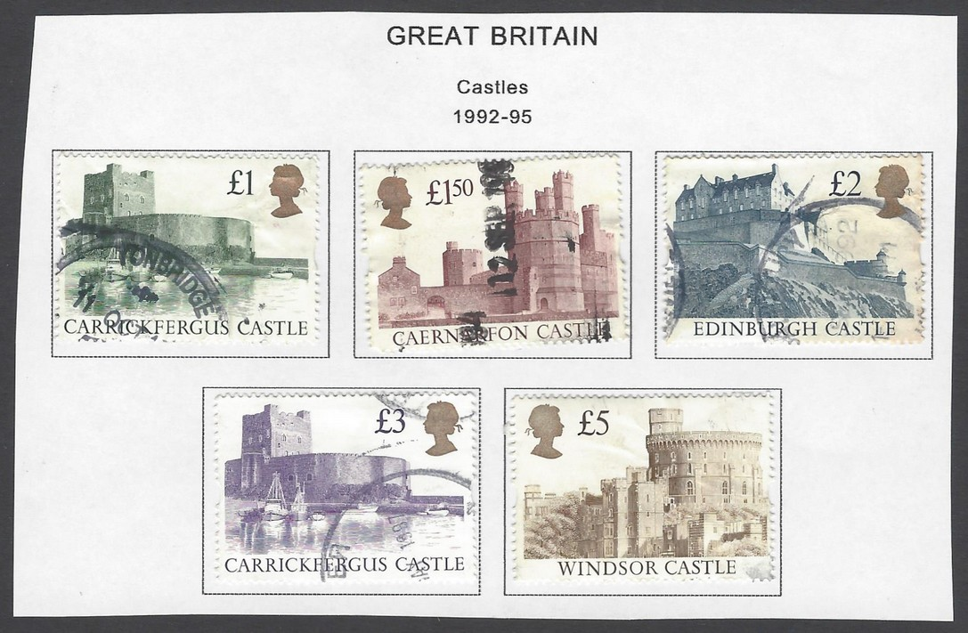 GB Great Britain 1992-95 Castles set of 5 used