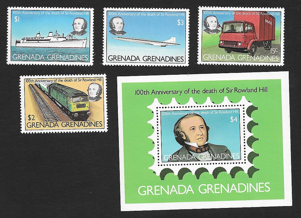 Grenada Grenadines 1979100th Ann of Death of Sir Rowland Hill set of 4 & MS MNH