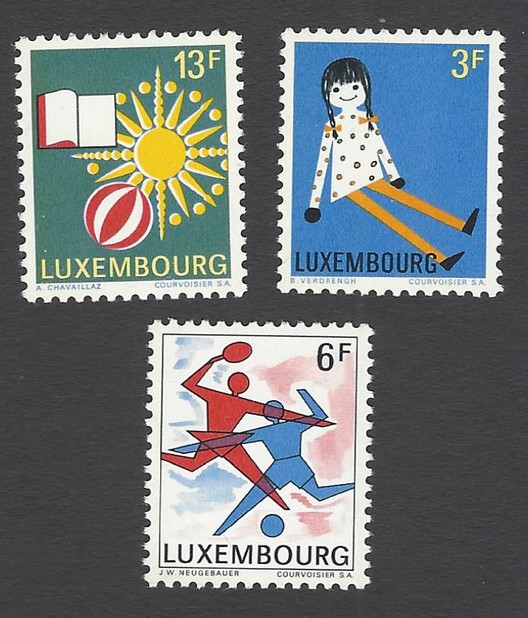Luxembourg 19691st Intl. Youth Phil. Exhibtion set of 3 MNH