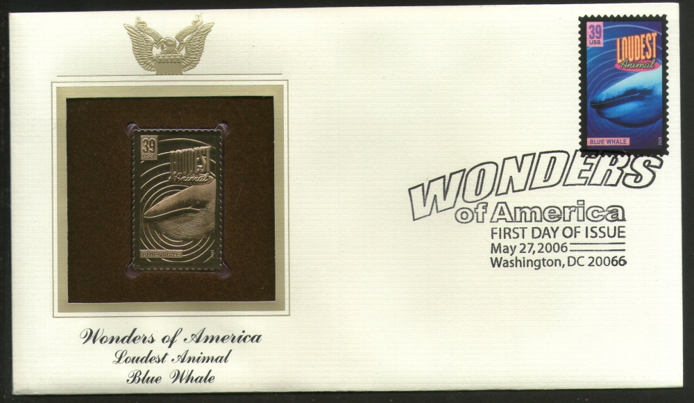 USA 2006 Blue Whale Loudest Animal Wonders of America Gold Replicas Cover # 259