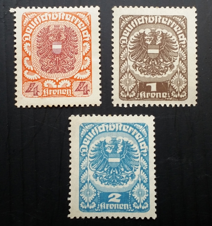Austria Stamps Postage 1920 3 different Heller Arms MINT Stamps #1