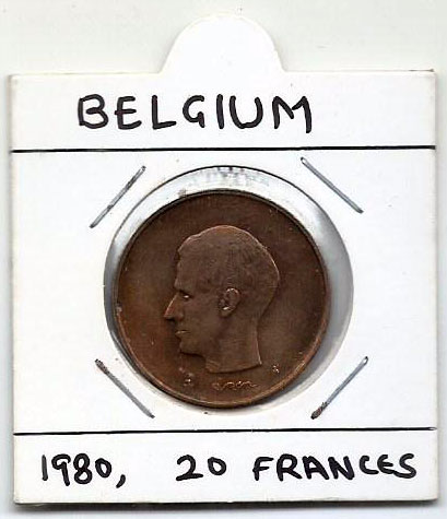 Belgium - Used coin as per 2 scans - 20 Frances 1980 (P-001/A2)