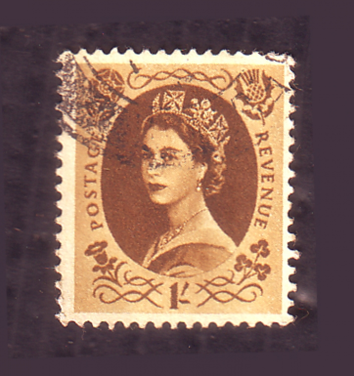 British Coronation Country 1955 Queen Elizabeth 1d Postage Revenue stamp