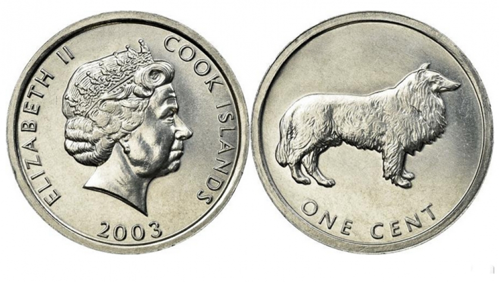 2003 Cook Islands 1 Cent Collie Dog