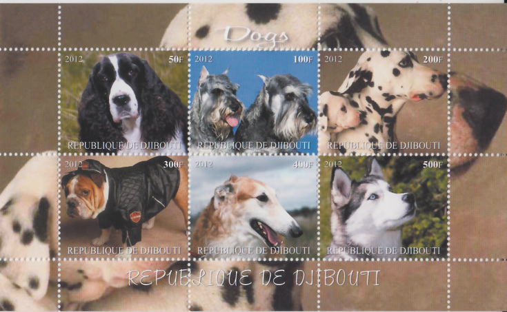 Djibouti 2012 - Dogs - 6v  MNH  - Cindrella Sheet # 91965