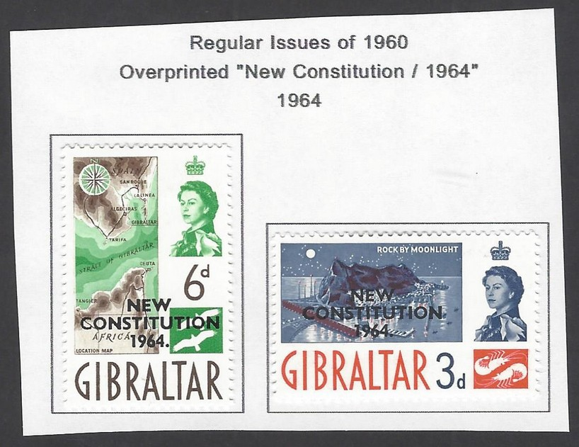 Gibraltar 1964 Overprinted New Constitution set of 2 MH