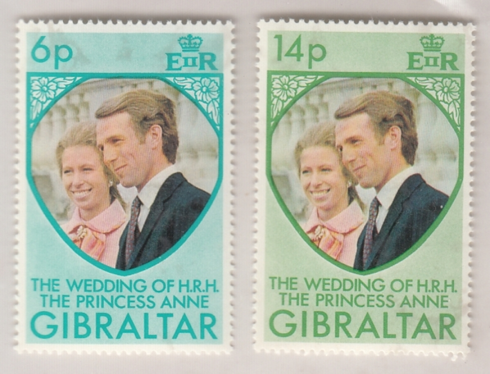 Gibralter The Wedding Of H.R.H. The Princess Anne  2v  MNH  Set  White Gum  #  25680 d