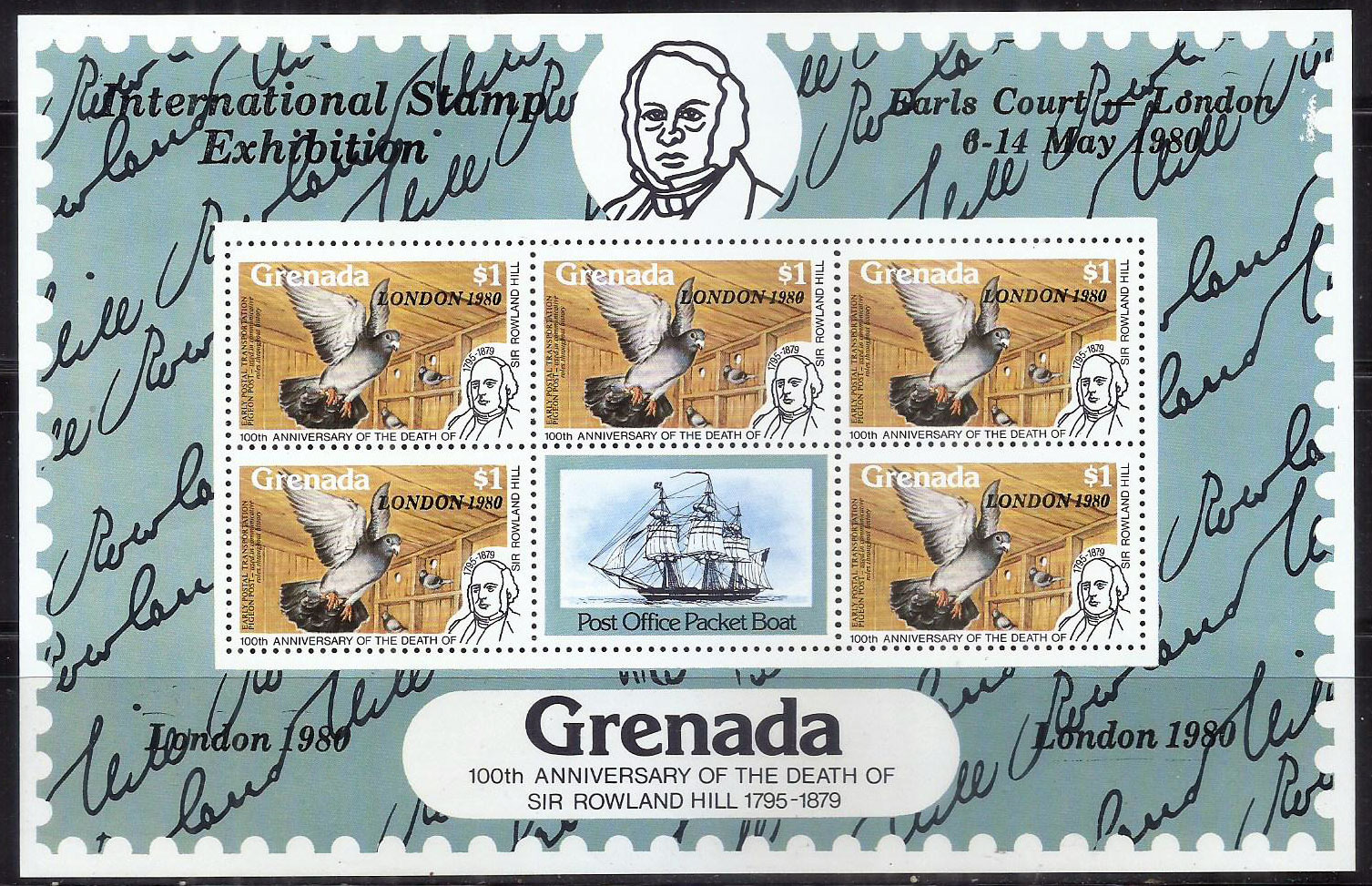 Grenada - MH (Hinged) Sheet - 100th Anniv. of Death of Rowland Hill - Pigeon (P-020/F)