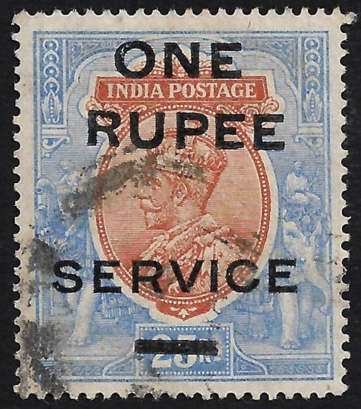 India 1925 King George V ONE RUPEE on 25Rs used