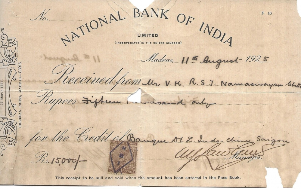 INDIA 1925 Receipt NATIONAL BANK of INDIA Madras Preventive Mark Chop N B I Postage Stamp as Revenue Folded Will Ship Folded Condition Okey Stamp Fine SEE SCAN