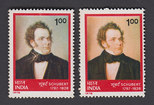 India 1978 Schubert...Brown Colour Dry Print...Varity with Normal Stamp # 18375