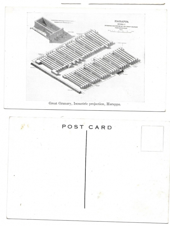 INDIA Old PostCard Great Granary Isometric Projection HARAPPA