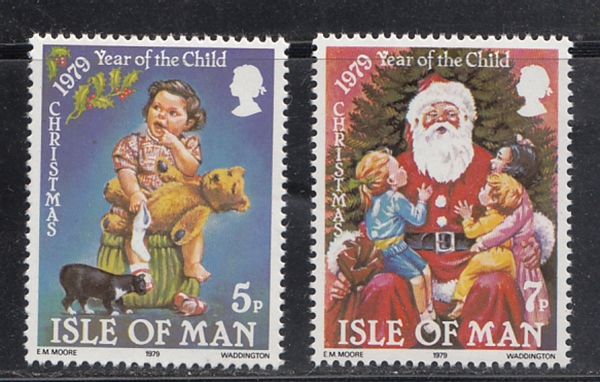Isle Of Man 1979 Year Of Child - Christmas 2v MNH Set White Gum # 13172 D
