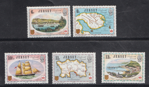 Jersey Sea Links With Canada Ship Routes 5v MNH White Gum # 13155 D