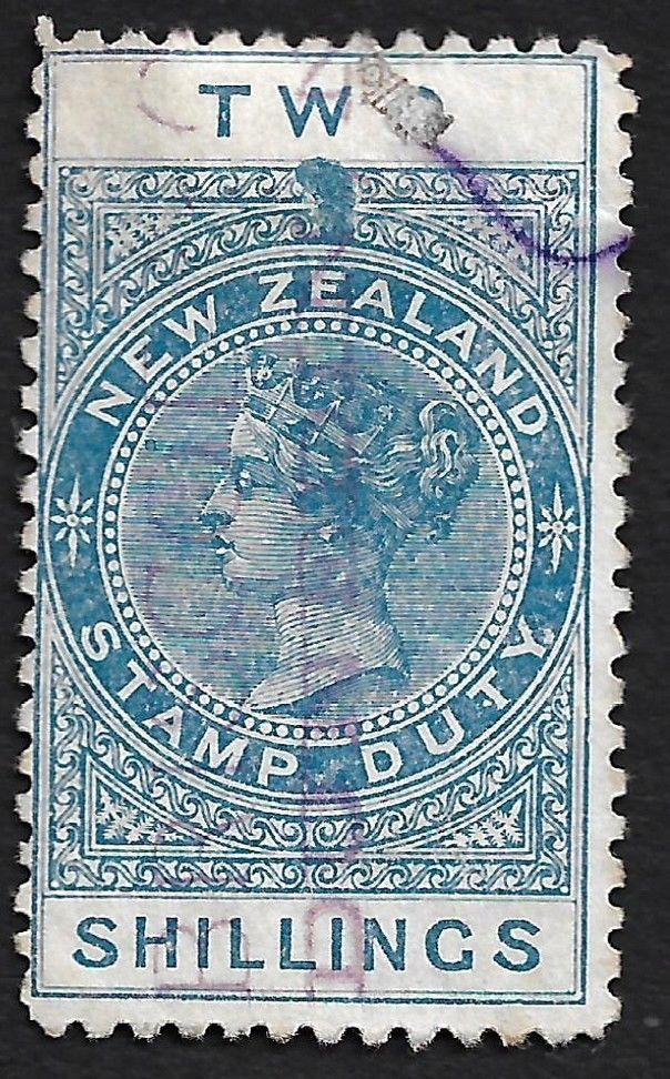 New Zealand 1882 Queen Victoria 2 shillings blue used