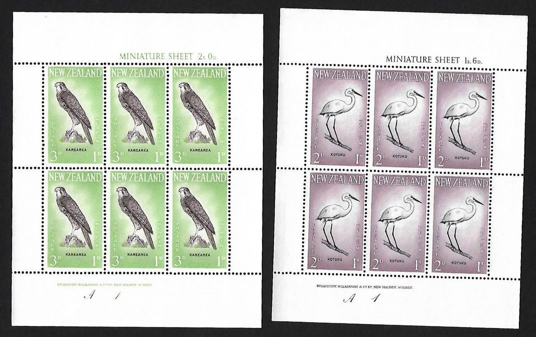 New Zealand 1960 Birds Health sheetlets of 6 MNH