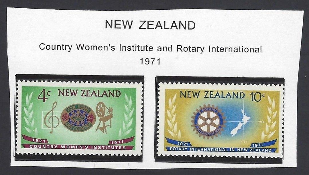 New Zealand 1971 Country Women`s Institute  Rotary Intl set of 2 MNH