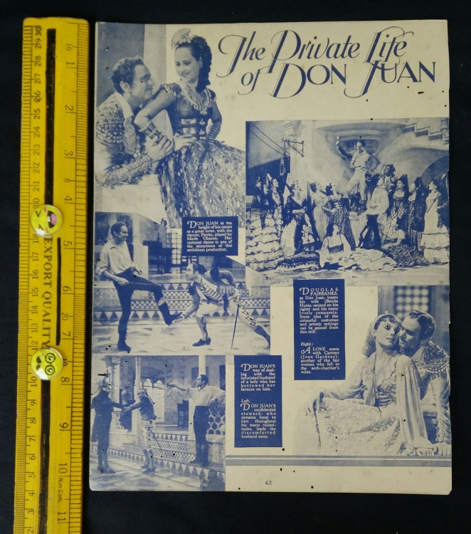 Old Hollywood magazine thick page of The Private Life of Don Juan & casting office , single page sheet