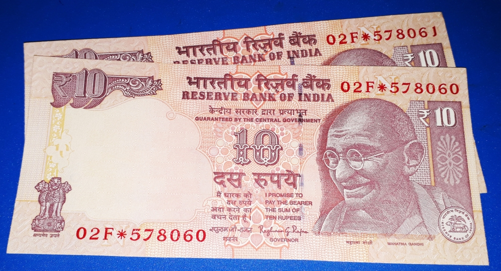 STAR NOTE: Raghuram Rajan Rupees 10/- , TWO CONSECUTIVE NOTES UNC