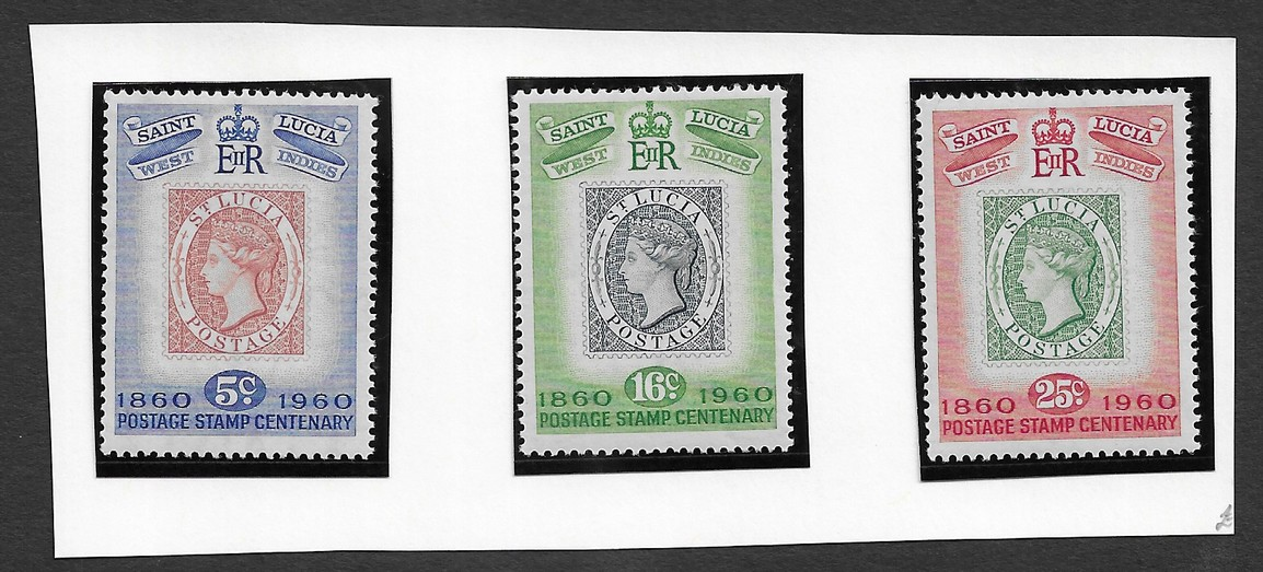 St.Lucia 1960 Centenary of St. Lucia's first postage stamps Set of 3 MNH