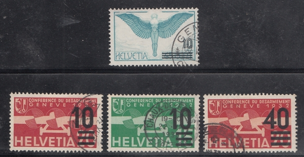 Switzerland / Helvetia 1930s Classic Air Mail Stamps x 4 Used # 17270 D