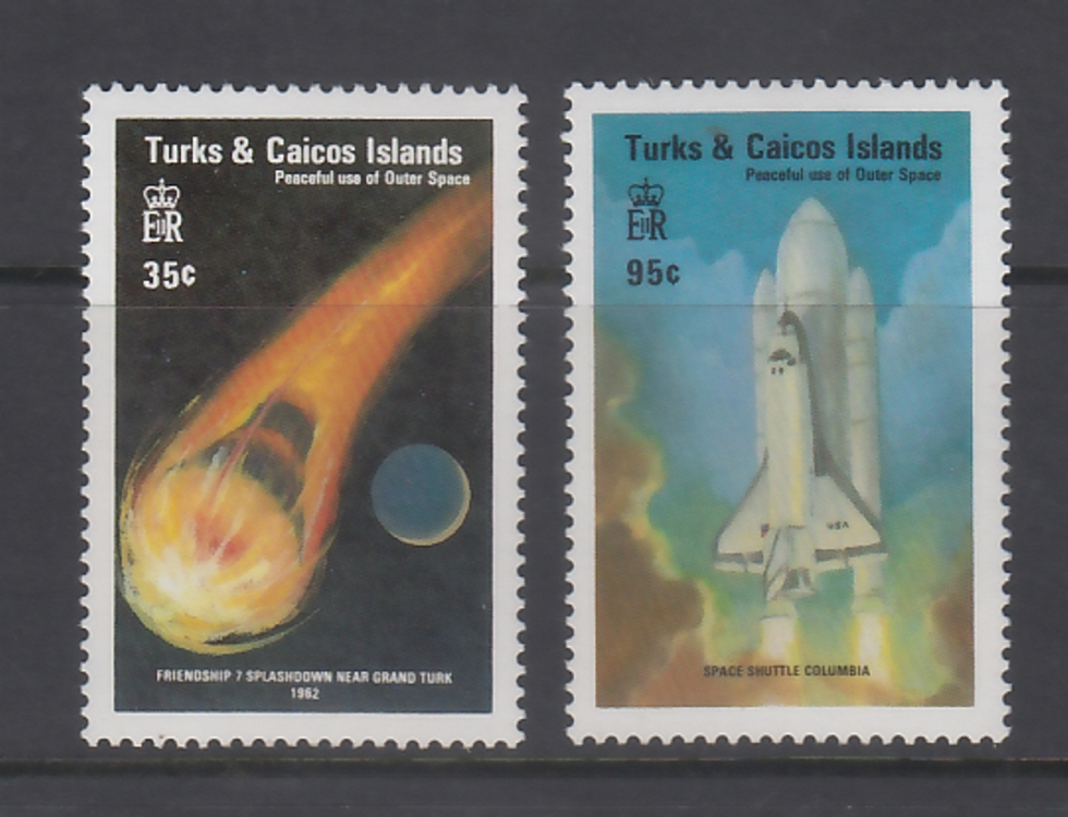Turks & Caicos Islands  Peaceful Use Of Outer Space  Shuttle Columbia  2v  MNH  Set  Excellent Condition  # 68311