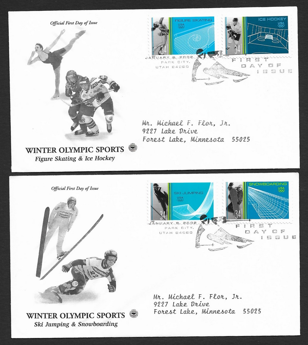 USA 2002 Winter Olympic Sports set of 4 on 2 FDCs