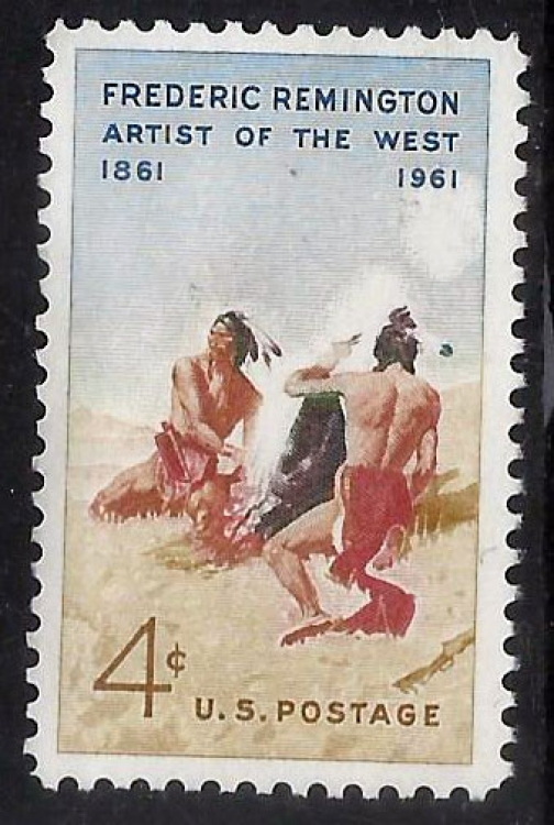 USA - MH (Gum Washed) stamp - Painting by Frederic - (P-061/i)